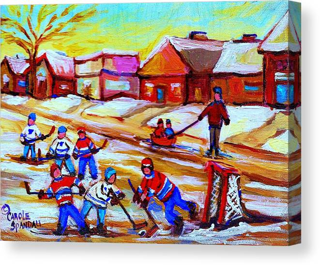 Hockey Canvas Prints Canvas Print featuring the painting Lets Play Hockey by Carole Spandau