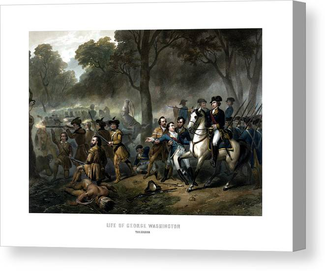 George Washington Canvas Print featuring the painting Life Of George Washington - The Soldier by War Is Hell Store