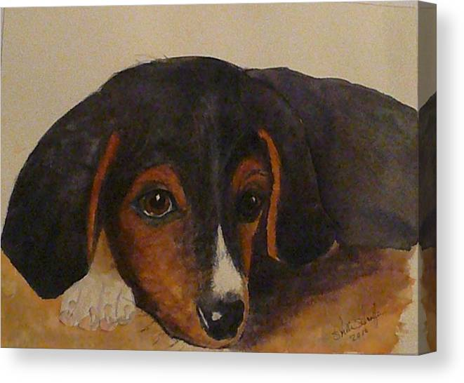 Earnhardt Canvas Print featuring the painting Little Earnhardt by Stella Schaefer