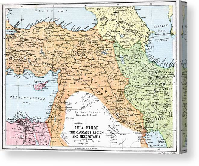 Map Of Asia Minor And Caucasus Region Canvas Print / Canvas Art by Caucasus Map on