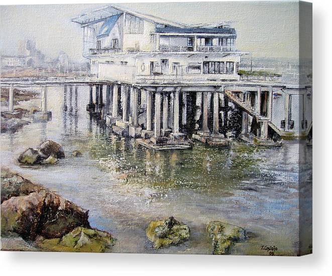 Maritim Canvas Print featuring the painting Maritim Club Castro Urdiales by Tomas Castano