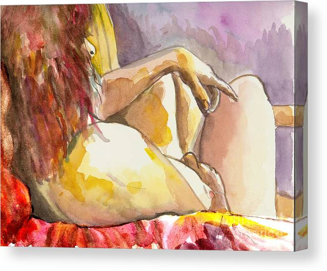 Figure Drawing Canvas Print featuring the painting My Right Shoulder by Tali Farchi