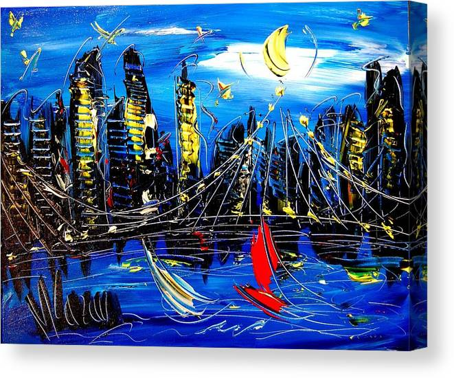 Canvas Print featuring the painting Nycity by Mark Kazav