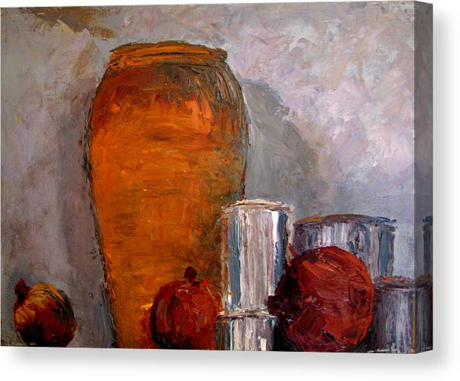Still Life Canvas Print featuring the painting On The Shelf by Art Nomad Sandra Hansen