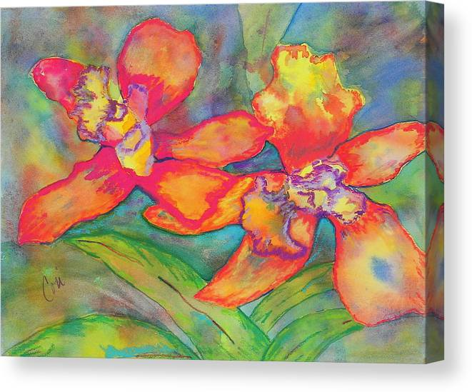 Flowers Canvas Print featuring the painting Orchids In Paradise by Cori Solomon