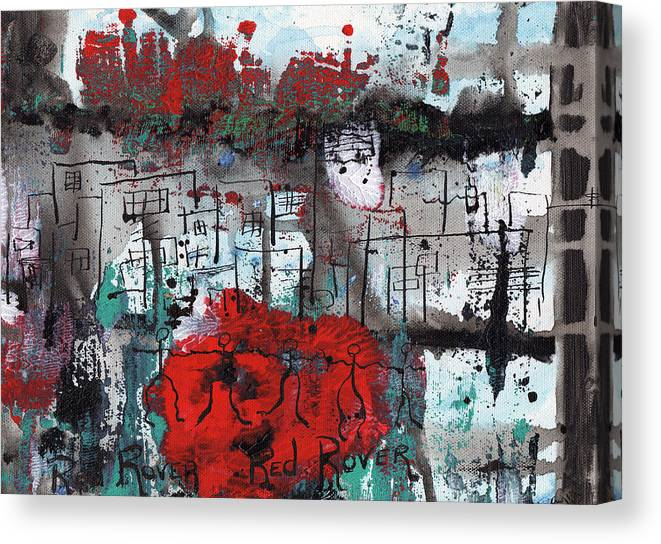 Abstract Canvas Print featuring the painting Red Rover Red Rover by Wayne Potrafka