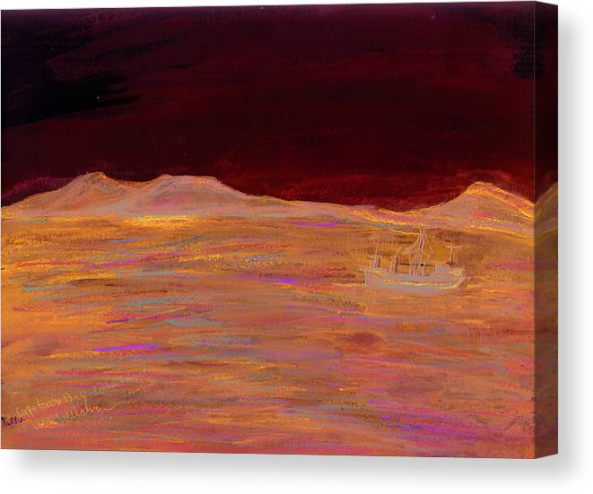 Kevin Callahan Canvas Print featuring the painting Robbin Island Capetown Bay South Africa by Kevin Callahan