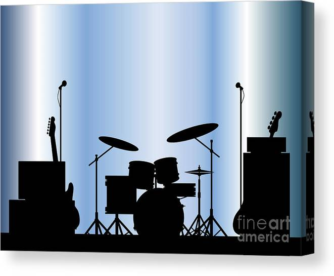 Rock Bandm Guitar Canvas Print featuring the digital art Rock Band Equipment by Bigalbaloo Stock