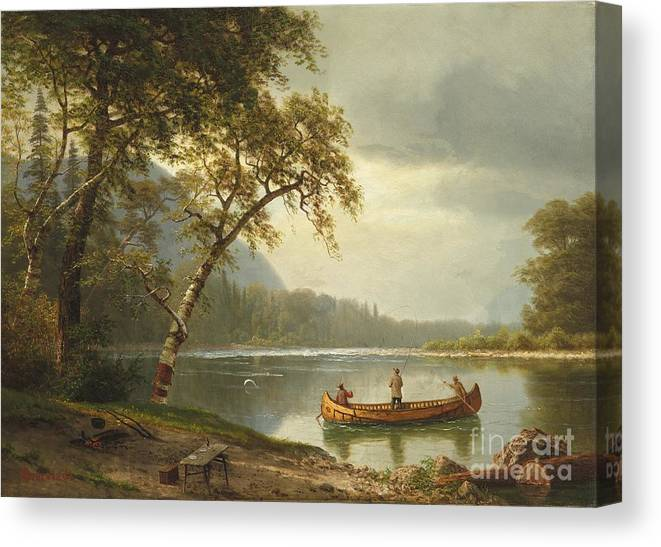 Landscape; Rural; Countryside; Canadian; Fishermen; Boat; Leisure; Calm; Peaceful; Kayak; Camp; Campfire; Fire; Kettle; Scenic; Riverbank Canvas Print featuring the painting Salmon Fishing On The Caspapediac River by Albert Bierstadt