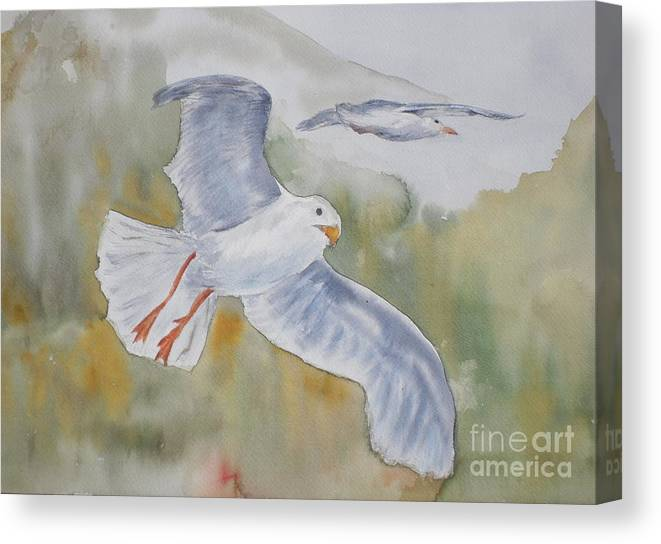 Souring Canvas Print featuring the painting Seagulls Over Glacier Bay by Vicki Housel