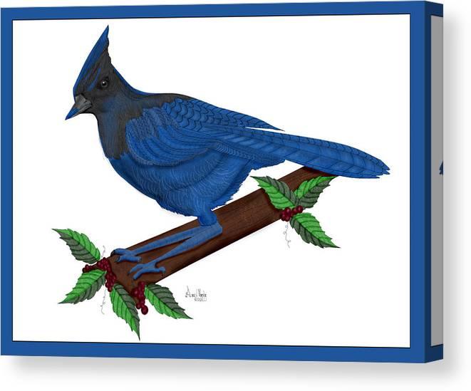 Stellari Blue Jay Canvas Print featuring the painting Stellari In Blue by Anne Norskog