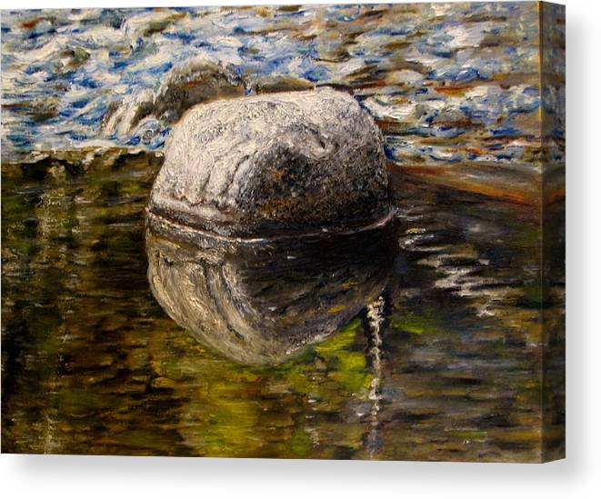 Landscape Canvas Print featuring the painting Stone Landscape Original Oil Painting by Natalja Picugina