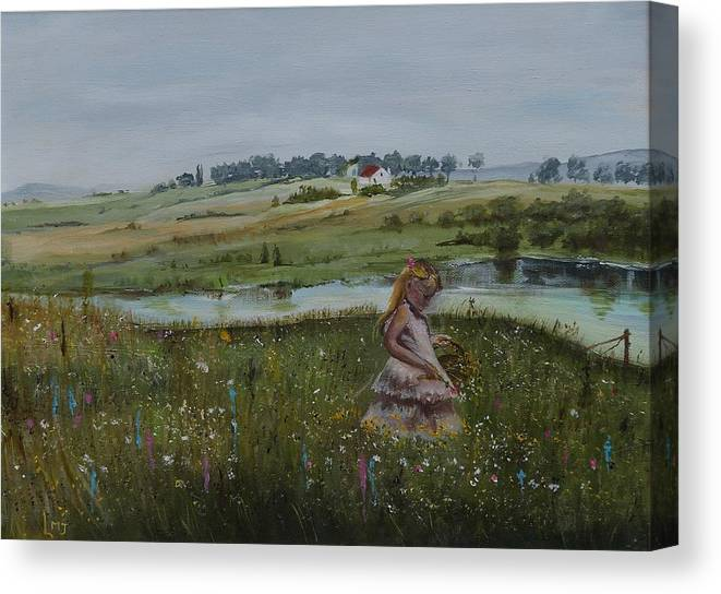 Impression Canvas Print featuring the painting Tender Blossom - Lmj by Ruth Kamenev