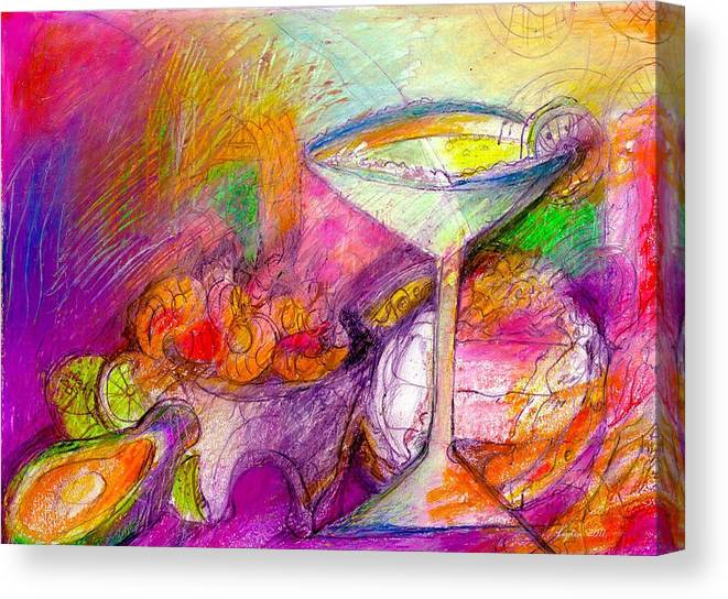 Tequilas Canvas Print featuring the mixed media Tequilas by Lydia L Kramer