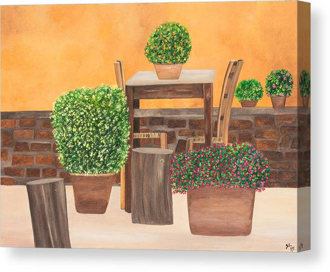Italy Canvas Print featuring the painting Terrace In Tuscany by Sandra Lorant