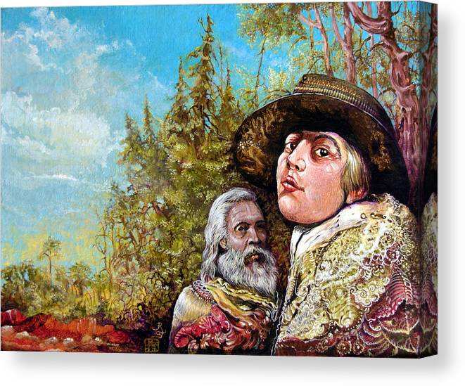 Surrealism Canvas Print featuring the painting The Dauphin And Captain Nemo Discovering Bogomils Island by Otto Rapp