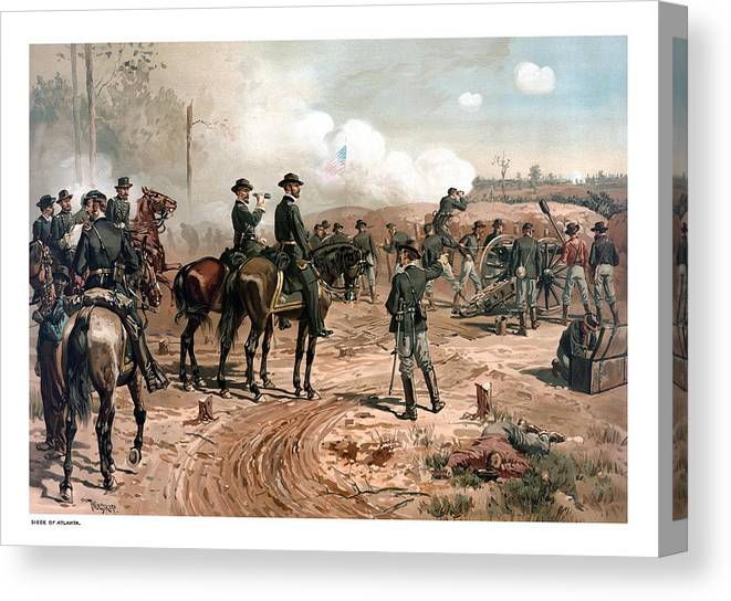 General Sherman Canvas Print featuring the painting The Siege Of Atlanta by War Is Hell Store