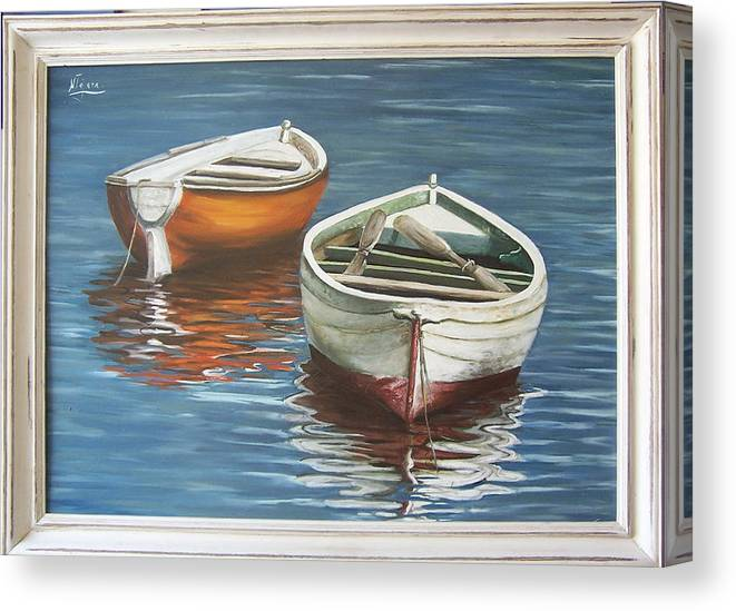 Boats Reflection Seascape Water Boat Sea Ocean Canvas Print featuring the painting Two Boats by Natalia Tejera