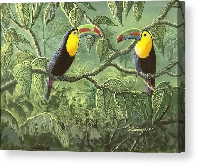 Toucans Canvas Print featuring the painting Two Toucans by Don Lindemann