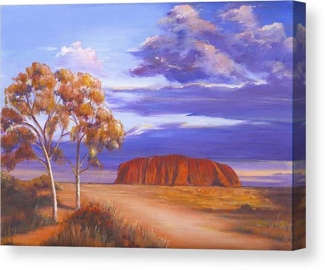 Landscape Canvas Print featuring the painting Uluru - Ayers Rock by Robynne Hardison