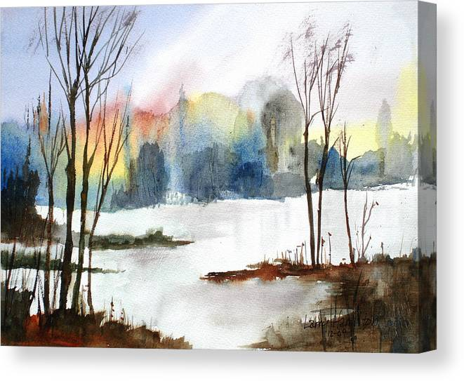 Watercolor Canvas Print featuring the painting Water Sunset Study by Larry Hamilton