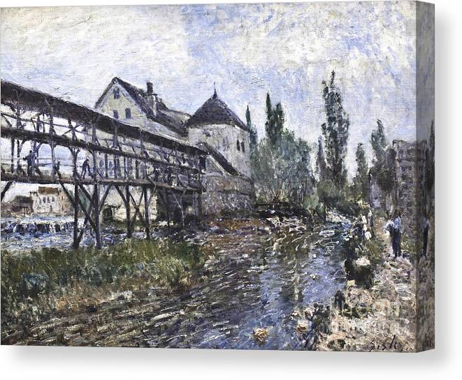 Watermill Near Moret Canvas Print featuring the painting Watermill Near Moret by Celestial Images