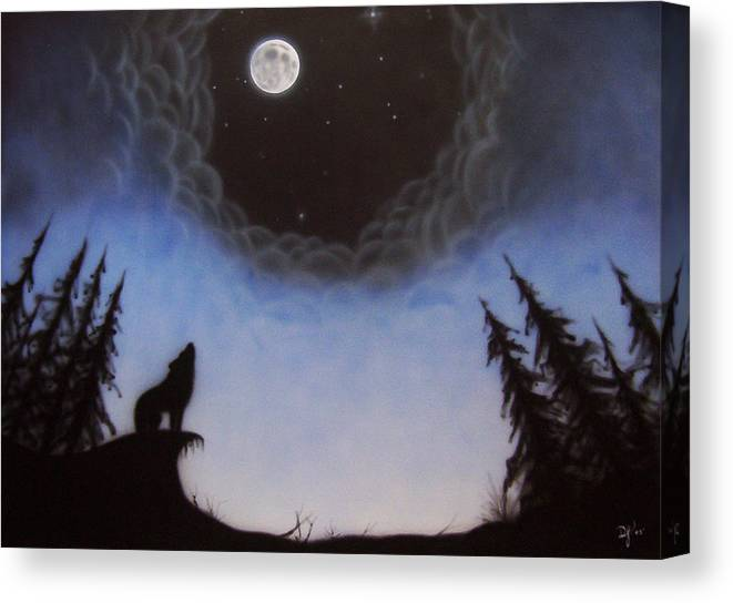 Wolf Canvas Print featuring the painting Wolf Moon by Devaron Jeffery