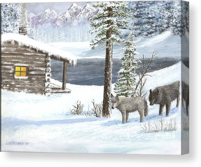 Wolfs Canvas Print featuring the painting Wolfs In Winter by Don Lindemann