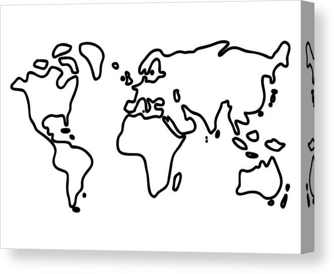 Illustration Canvas Print featuring the drawing World Globe by Lineamentum