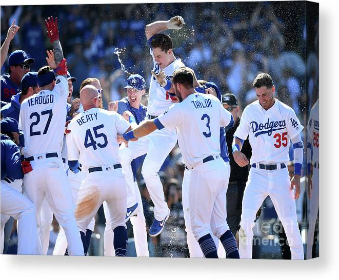 People Canvas Print featuring the photograph Colorado Rockies V Los Angeles Dodgers 13 by Harry How