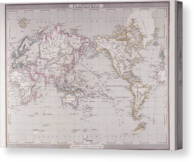 Planispheric Map Of The World Canvas Print / Canvas Art by Fototeca ...