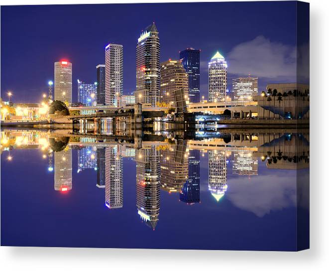 Downtown District Canvas Print featuring the photograph Tampa Bay Skyline by Sean Pavone