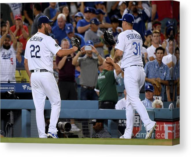 People Canvas Print featuring the photograph Clayton Kershaw And Joc Pederson by Harry How