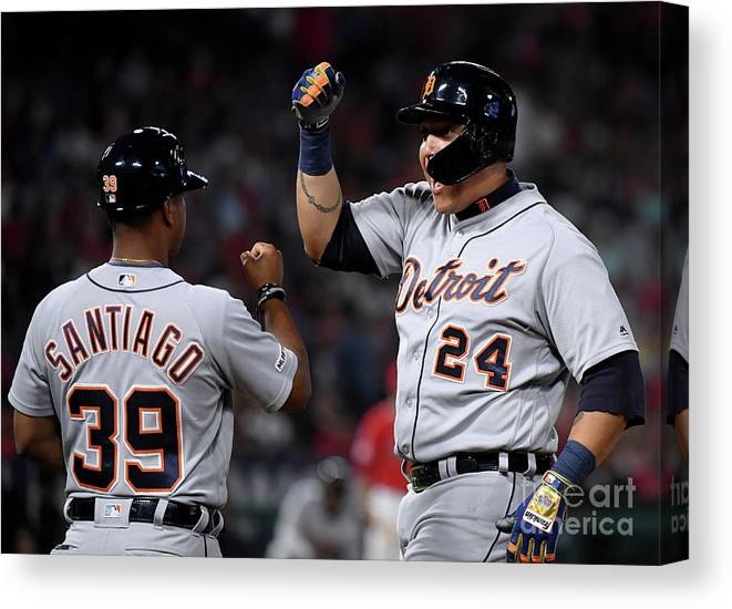 People Canvas Print featuring the photograph Miguel Cabrera And Ramon Santiago by Harry How