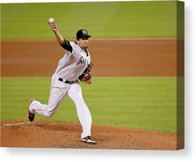 American League Baseball Canvas Print featuring the photograph Nathan Eovaldi by Rob Foldy