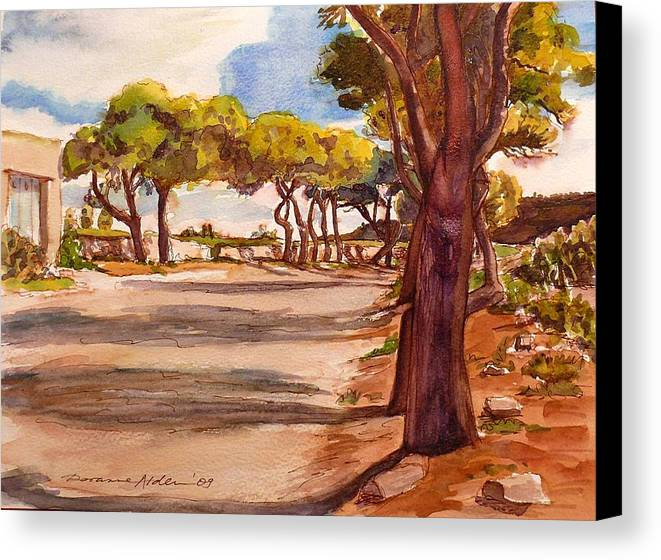 Landscape Canvas Print featuring the painting Country Lane by Doranne Alden