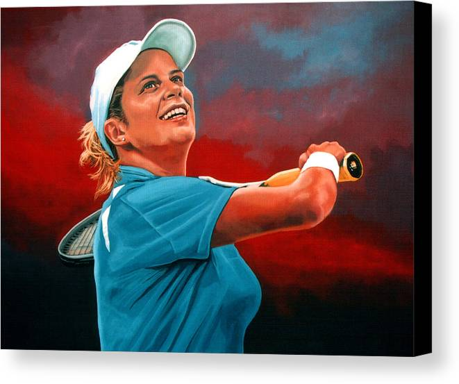 Paul Meijering Canvas Print featuring the painting Kim Clijsters by Paul Meijering