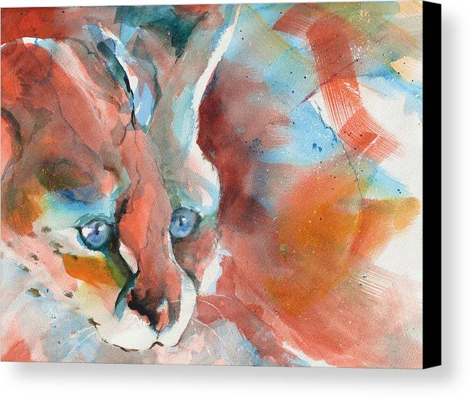 Rescued Canvas Print featuring the painting Rescued Serval by Beverly Berwick