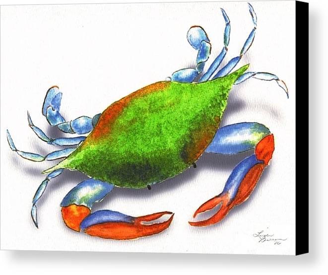 Louisiana Canvas Print featuring the painting Louisiana Blue Crab by Linda Burrow