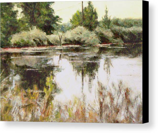 Canvas Print featuring the painting Placid Waters by Chisho Maas