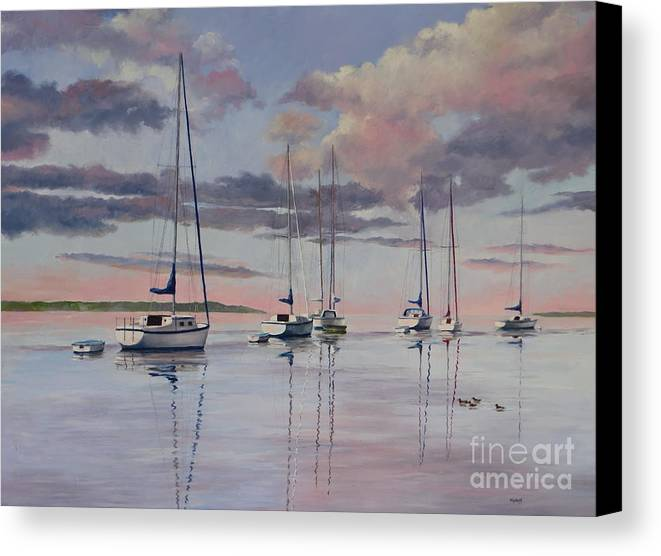 Sailboats Canvas Print featuring the painting Cuttyhunk Harbor by Karol Wyckoff