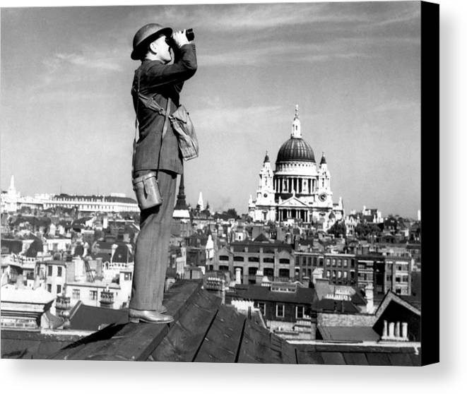 History Canvas Print featuring the photograph Aircraft Spotter Searches The Sky by Everett