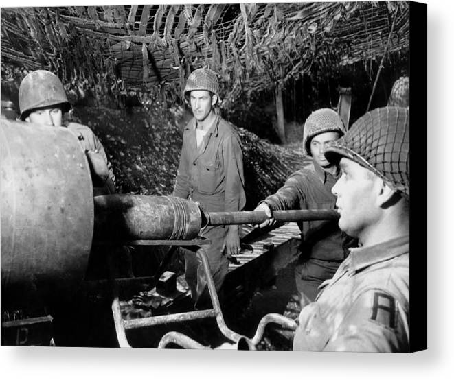 History Canvas Print featuring the photograph American Gunners Load A Shell by Everett
