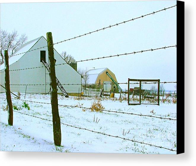Amish Canvas Print featuring the photograph Amish Farm In Winter by Julie Dant
