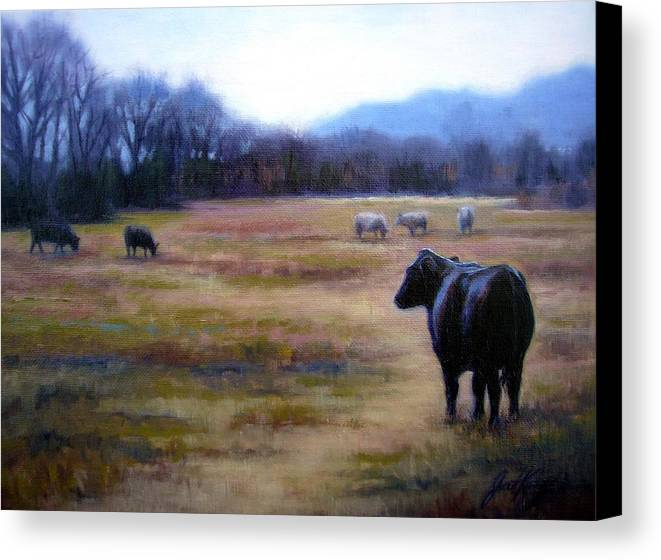 Angus Steer Canvas Print featuring the painting Angus Steer In Franklin Tn by Janet King