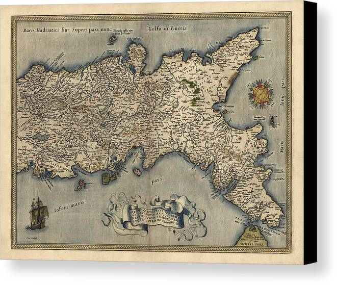 Antique map of southern italy by abraham ortelius 1570 canvas italy canvas print featuring the drawing antique map of southern italy by abraham ortelius 1570 gumiabroncs Images
