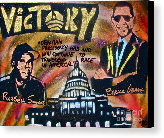 Barack Obama Canvas Print featuring the painting Barack And Russell Simmons by Tony B Conscious