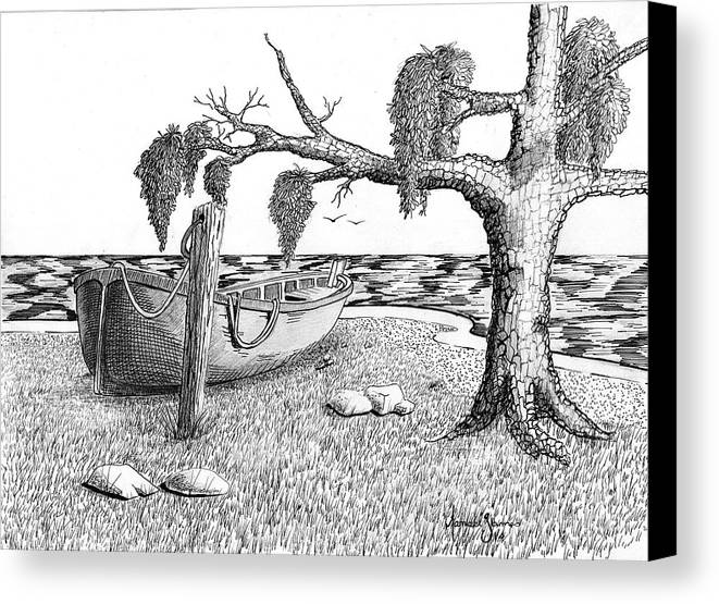 Landscape Canvas Print featuring the drawing Beach Boat by Grant Mansel-James