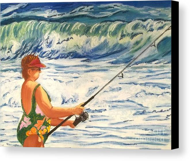 Figure Canvas Print featuring the painting Big Momma Fishin' by Frank Giordano