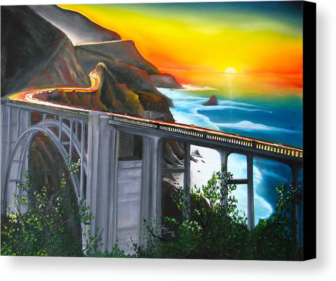 Beautiful California Sunset! Canvas Print featuring the painting Bixby Coastal Bridge Of California At Sunset by Dunbar's Modern Art